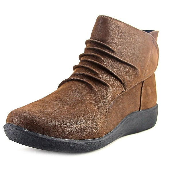 Clarks Cloudsteppers Sillian Sway Women Round Toe Leather Brown Ankle Boot