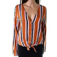Polly & Esther Brown Womens Size Large L Striped Tie Hem Blouse