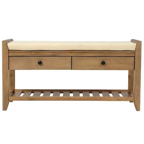 multipurpose entryway pine wood top storage bench