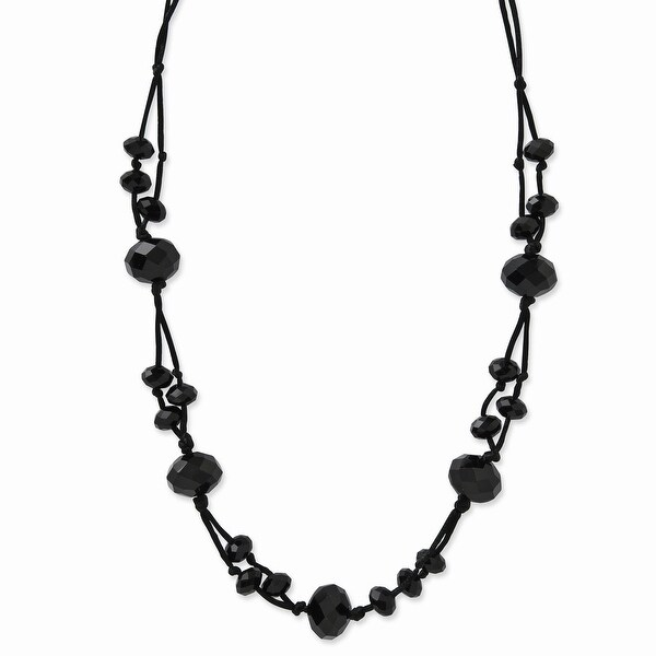 Black IP Black Acrylic Beads Necklace - 16in