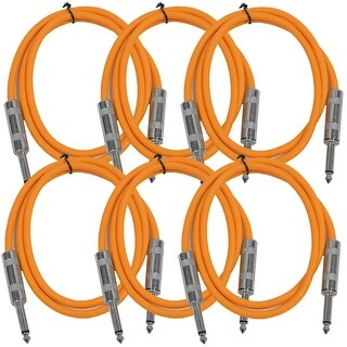 "SEISMIC AUDIO 6 PACK Orange 1/4"" TS 3' Patch Cables - Guitar - Instrument"