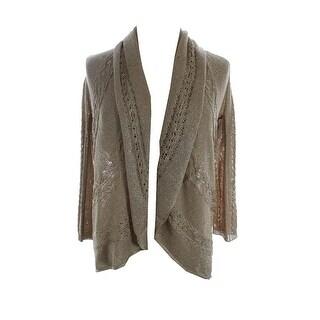 Alfani New Gold 3/4-Sleeve Lurex Open-Front Cardigan Sweater S