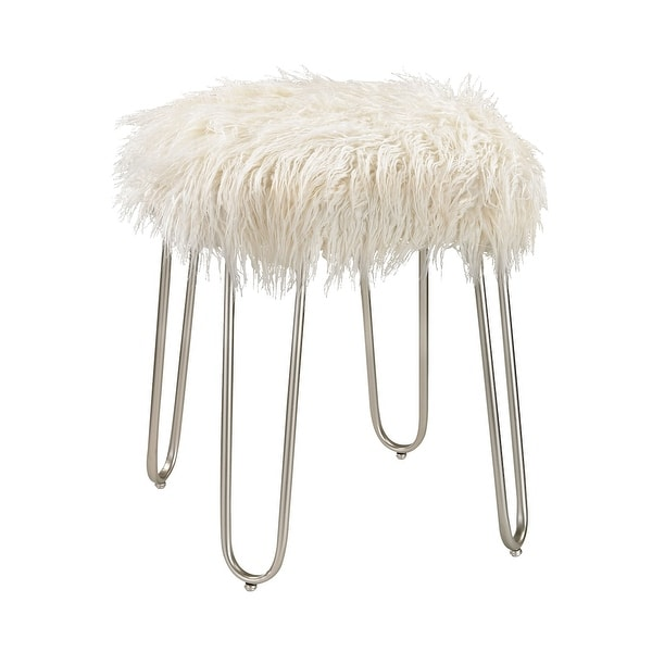 """20.5"""" White Faux Fur Retro Foot Stool with Silver Metal Legs - N/A"""
