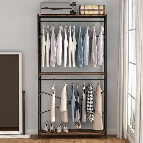 Extra tall 47 inches Double Rod Closet Shelf Freestanding 3 Shelves Clothes Clothing Garment Racks