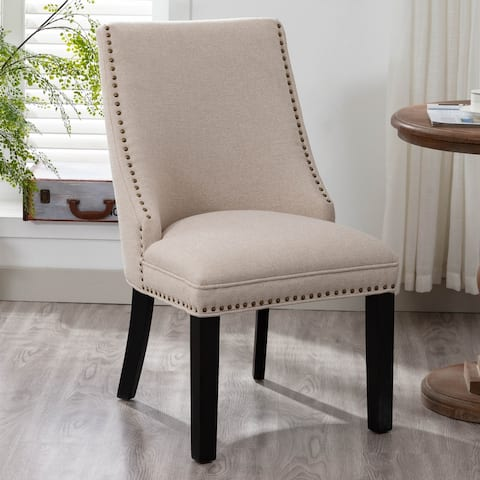 Elle Upholstered Dining Chair, Hotel Cream and Espresso