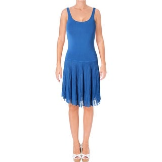 Ralph Lauren Womens Petites Flounce Dress Pleated Sleeveless