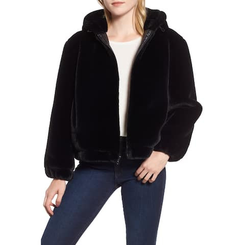 Marc York Womens Medium Faux-Fur Bomber Jacket