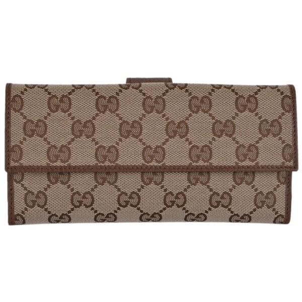 "Gucci Women's 231841 Beige Canvas GG Guccissima Continental Wallet W/Coin - 7.75"" x 4"""