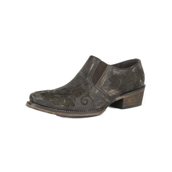 Roper Western Shoes Womens Slip On Snip Toe Brown 09-021-0978-0401 BR