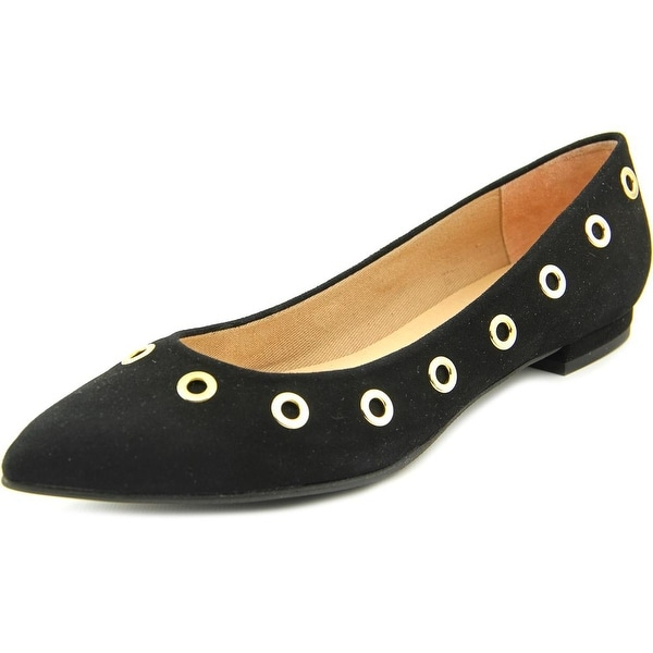 FS/NY Obtuse Women  Pointed Toe Suede Black Flats