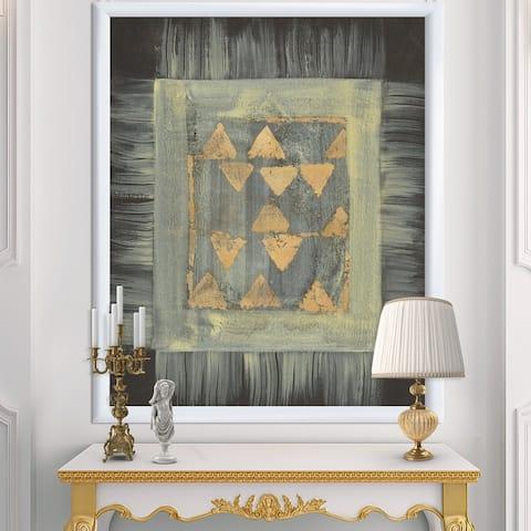 Designart 'Gold Geometric Tapestry' Modern & Transitional Premium Framed Art Print