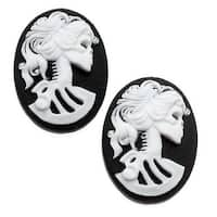 Lucite Oval Cameo - Black With White Lolita Skeleton 25x18mm (2 Pieces)