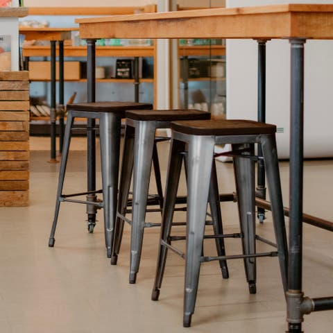 (Set of 2) Williston Modern Industrial Elm Wood Seat Counter 26 Backless Stool