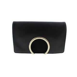 Chloe Womens Leather Flap Evening Clutch - Black - Medium