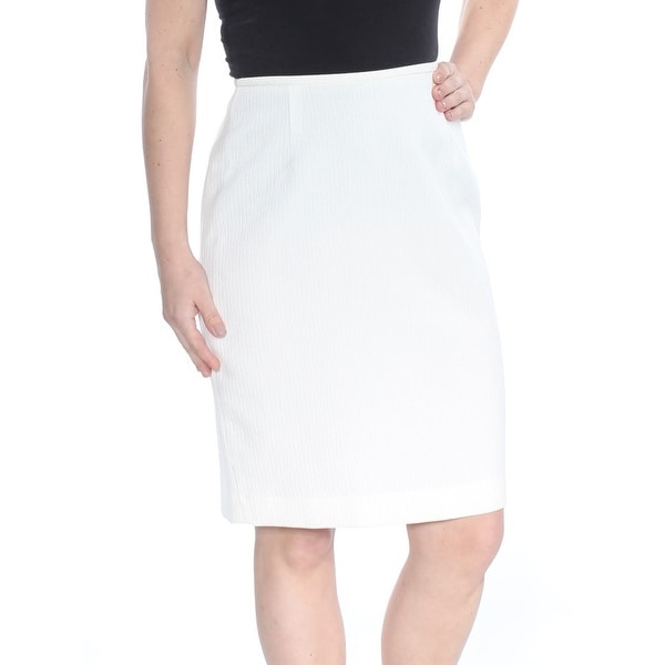 LE SUIT Womens Ivory Knee Length Pencil Wear To Work Skirt Petites Size: 4