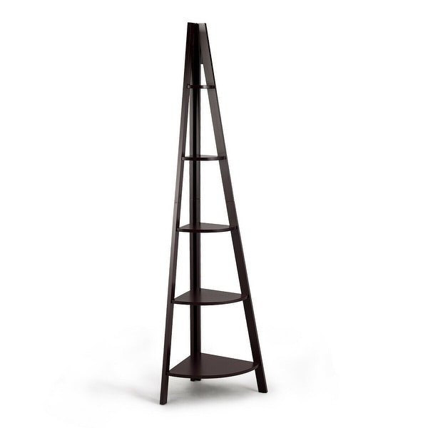 5 Tier Floor Corner Stand Ladder Shelves Bookshelf-Brown - Brown