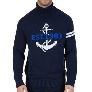 Nautica Blue Mens Size Medium M Turtleneck Graphic-Print Sweater