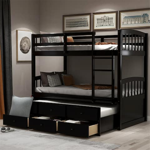 Twin Bunk Bed with Ladder Safety Rail Twin Trundle Bed with 3-Drawer