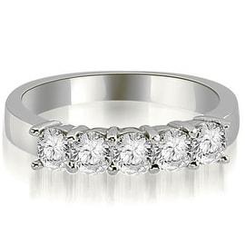 1.00 cttw. 14K White Gold Round Diamond Classic 5-Stone Prong Wedding Band