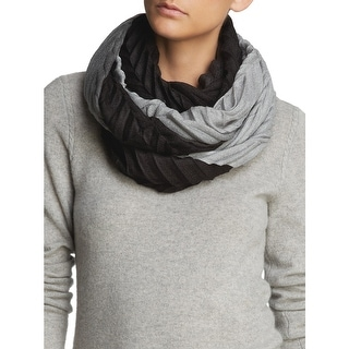 Echo Design Womens Black and Grey Ombre Knife Pleat Infinity Loop Scarf - One Size