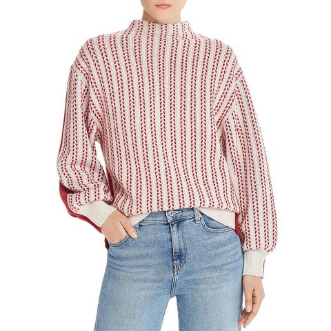 Equipment Femme Womens Sweater Wool/Cashmere Blend Printed - Red