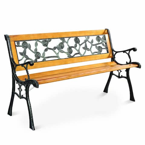 Costway Patio Park Garden Bench Porch Chair Outdoor Deck Cast Iron