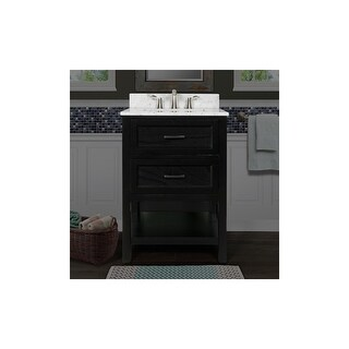 """Miseno MV102924 Rimini 24"""" Free Standing Vanity Cabinet with Wood Cabinet, Natural Stone Top, and Undermount Sink - Mirror Sold"""