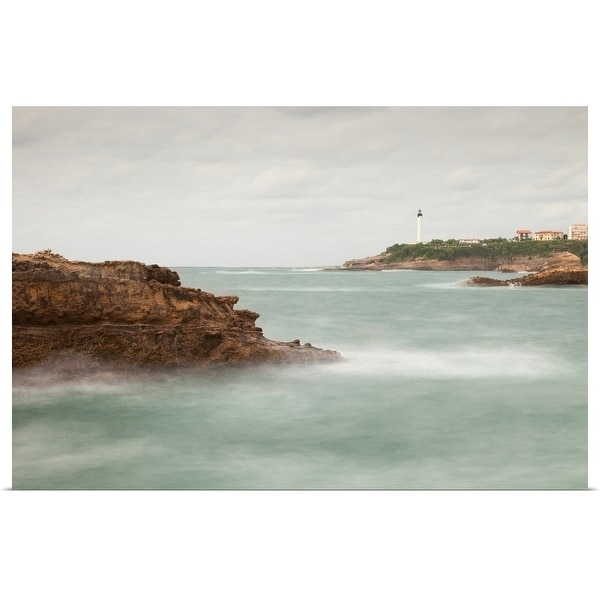 """""""Biarritz Lighthouse with rocks and sea."""" Poster Print. Opens flyout."""