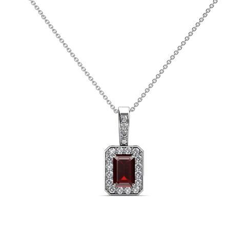 TriJewels Emerald Cut Gemstone Diamond Halo Pendant Gold Necklace