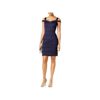 Vince Camuto Womens Scuba Dress Cold-Shoulder Cocktail