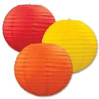 "Club Pack of 18 Round Red, Yellow and Orange Hanging Paper Lanterns 9.5"""
