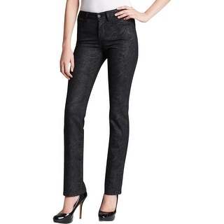 NYDJ Womens Petites Straight Leg Jeans Slimming Dark Wash