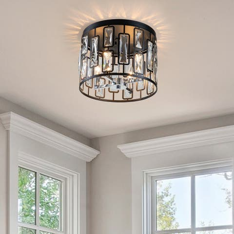 """4-Light Black Flush Mount with Clear Crystals - W13""""xL13""""xH9.75"""""""