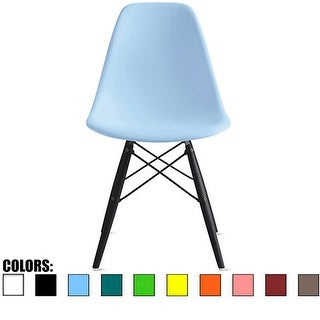 2xhome Blue - Eames Style Bedroom & Dining Room Side Ray Chair with Eiffel Dark Wood Dowel Legs