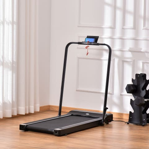 Soozier Folding Electric Treadmill, Walking, Jogging, Running Machine with 7.5 MPH Speed, LED Display and Remote Control