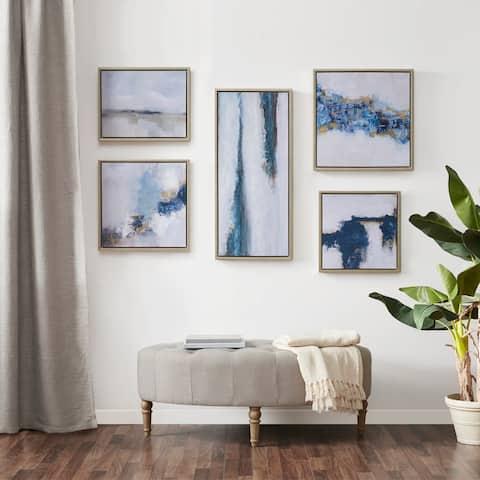 Blue Drift Framed Embellished Canvas Gallery 5PC Set by Martha Stewart