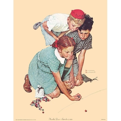 ''Knuckles Down'' by Norman Rockwell Americana Art Print (14 x 11 in.)