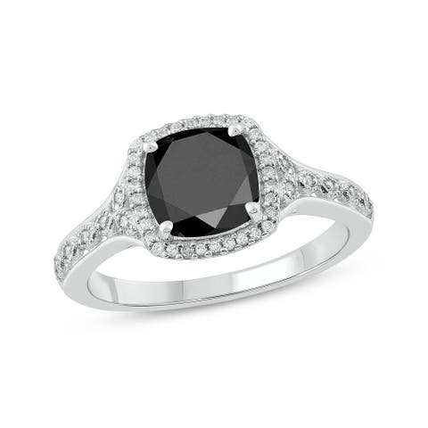 Cali Trove 10KT White Gold in 1/10 ct TDW & Black Sapphire Fashion ring.