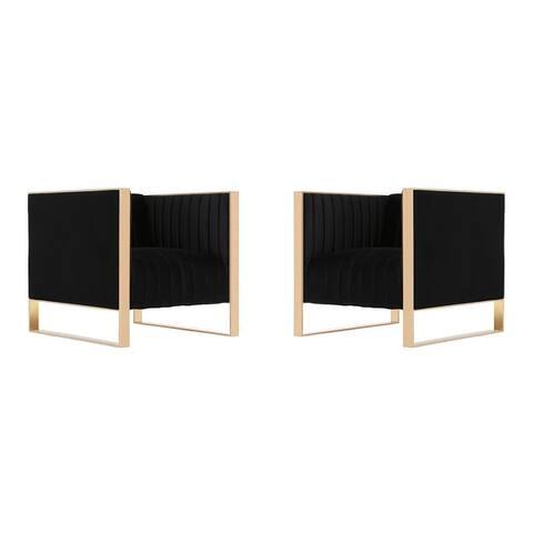 Manhattan Comfort Trillium Gold Frame Velvet Accent Chair (Set of 2)