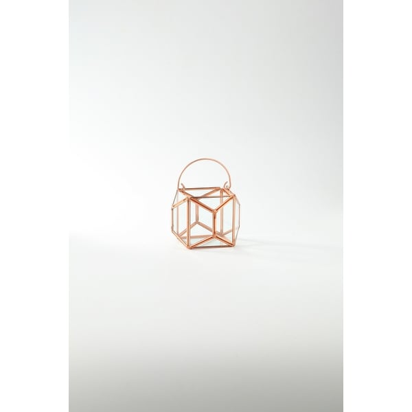 """4.5"""" Rose Gold Colored Geometric Handblown Glass Terrarium with Hinged Ring - N/A"""