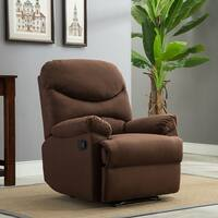 Belleze Microfiber Recliner Sofa Chair Home Office Reclining Positions Ergonomic Armrests/Footrests, Brown / Beige