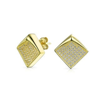 Bling Jewelry Bent Corner Micro Pave Stud earrings Gold Plated 11mm