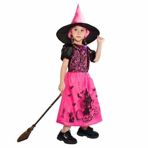 Eraspooky Girls Witch Halloween Costume Kids Wicked Pretty Red Pink Witches Dress
