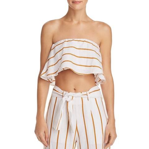Faithfull the Brand Womens Solana Crop Top Striped Ruffled