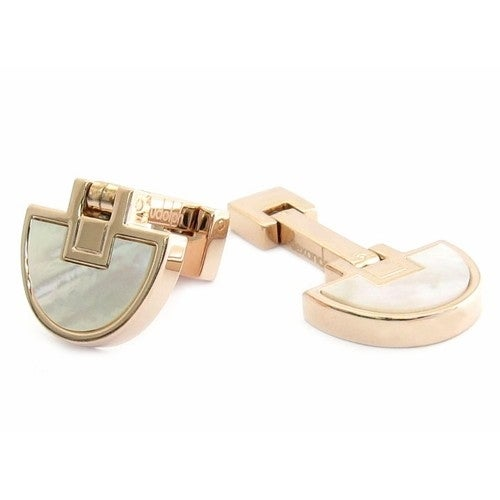 Half Moons Rose Gold Mother Of Pearl Cufflinks