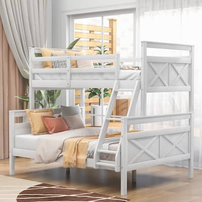 Twin over Full Bunk Bed Kid's Bed with Ladder & Safety Guardrail