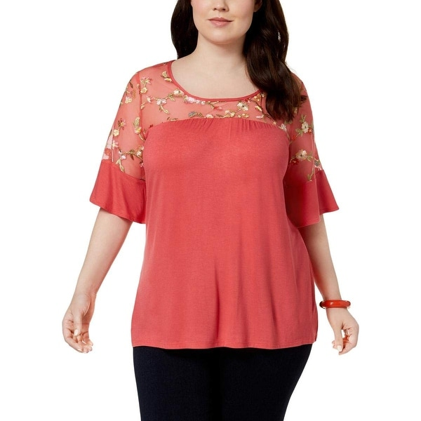 NY Collection Pink Women Size 2X Plus Mesh Keyhole Embroidered Top