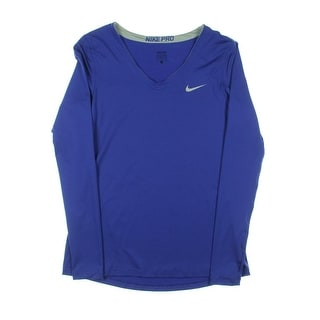 Nike Pro Womens Long Sleeve V Neck Pullover Top - L