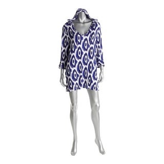 The Macbeth Collection Womens Printed Hooded Swim Top Cover-Up - L