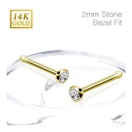 14 Karat Solid Yellow Gold Nose Stud Ring with 2mm Bezel Set Clear CZ Ball - 20 GA (2mm Ball) (Sold Ind.)